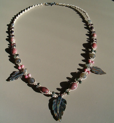 Abalone Shell, Rhodonite, Garnet, Labradorite Necklace